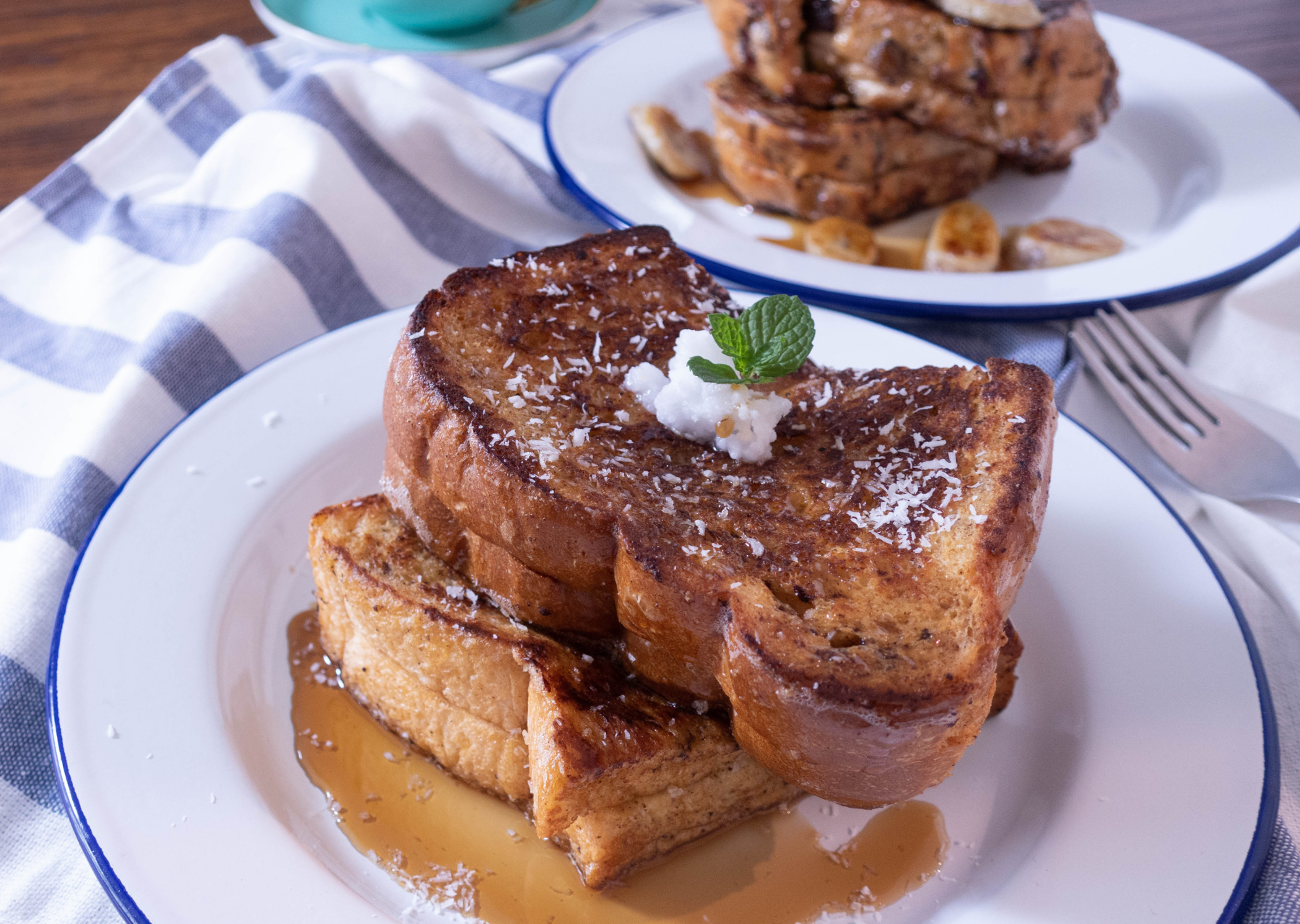 Coconut French Toast and Banana Peanut Butter French Toast