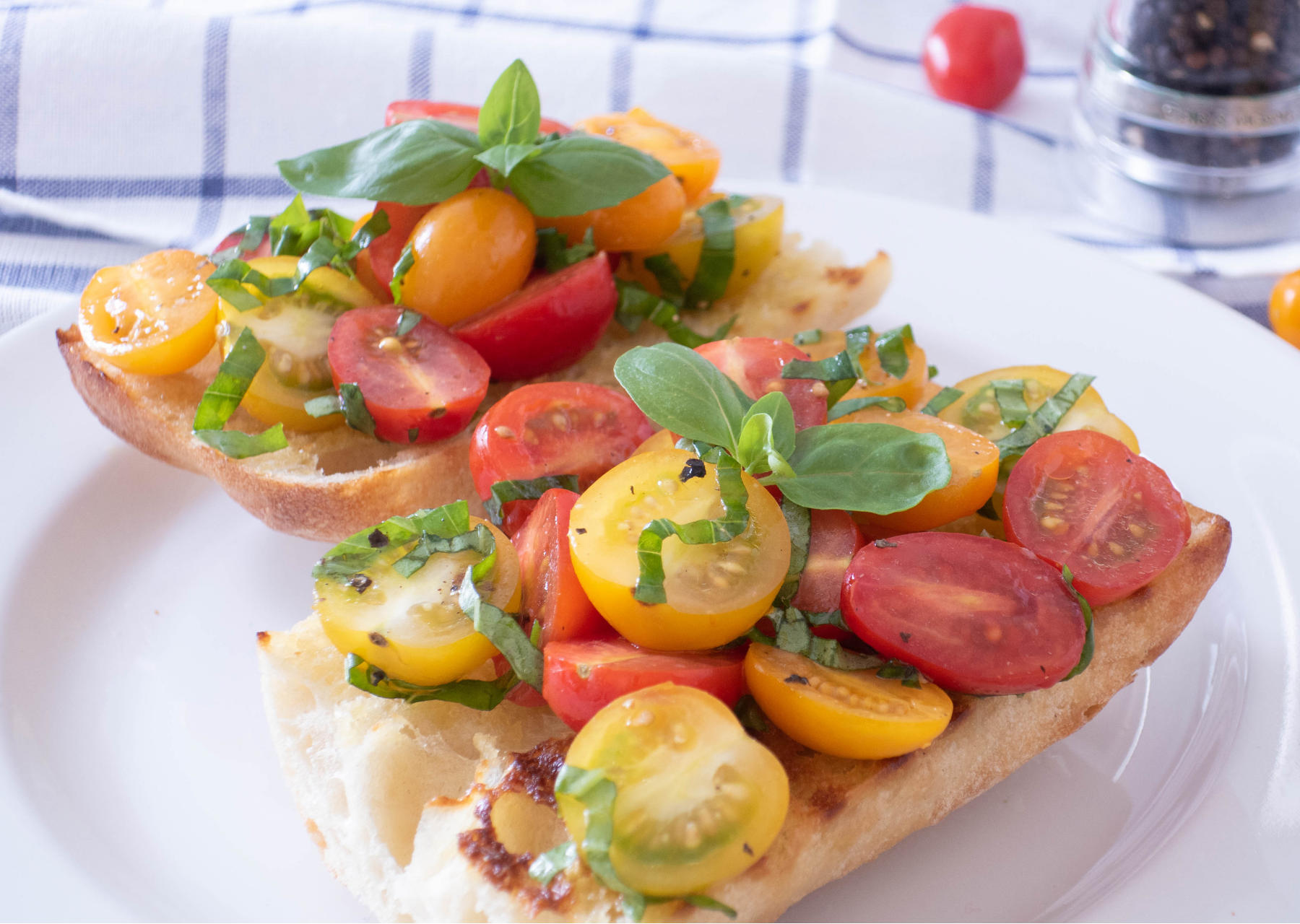Italian cherry tomato bruschetta breakfast recipe